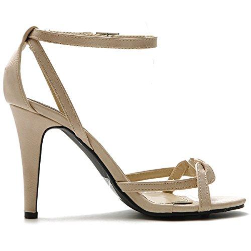 Ollio Women's Shoe High Heel Front Twisted Ankle Strap Dress Sandal (8.5 B(M) US, Beige)