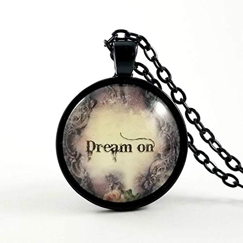 (Dream on Glass Necklace Boho 70s Rock N Roll)