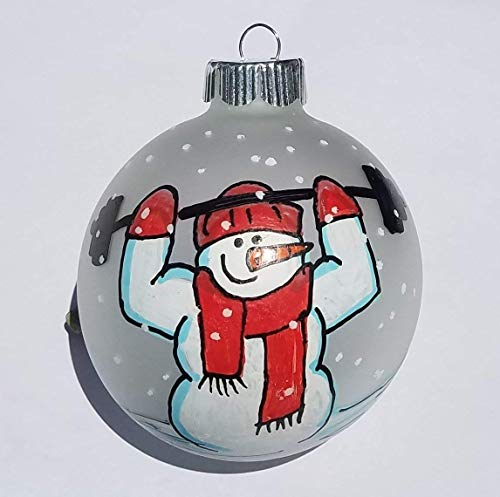 Snowman Hand painted Ornament Lifting Weights Fitness 2019