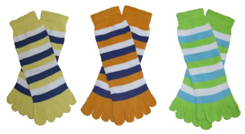 RSG Hosiery Funky Striped Toe Socks Kids/Children 3-Pack (Lime/Yellow/Orange)
