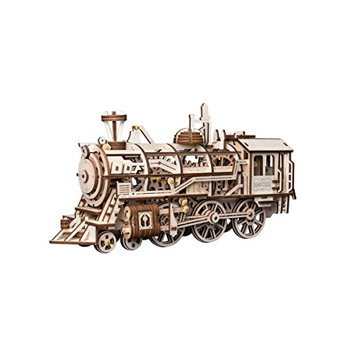 (ROKR Locomotive Mechanical Wooden Gear 3D Puzzle Kit)