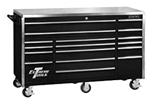 extreme tools ex7217rcbk 17 drawer triple bank roller cabinet with ball bearing. Black Bedroom Furniture Sets. Home Design Ideas