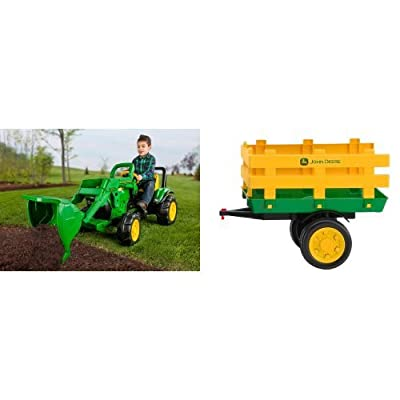 Peg Perego John Deere Front Loader with Green Stakeside Trailer Ride-On Bundle: Toys & Games