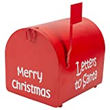 Transpac Imports, Inc. Letters to Santa Festive Red 11 x 9 Iron Christmas Decorative Mail Box