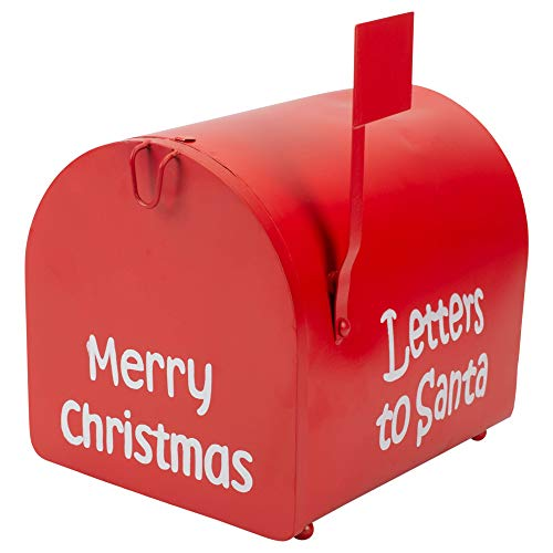 Transpac Imports, Inc. Letters to Santa Festive Red 11 x 9 Iron Christmas Decorative Mail Box ()