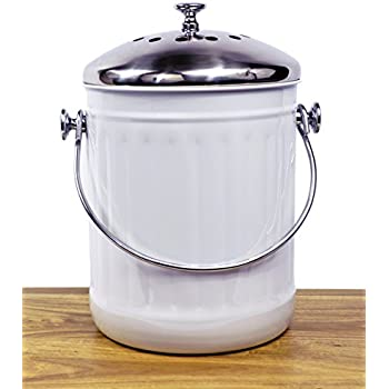 Indoor Kitchen Stainless Steel Compost Bin U2013 White U2013 1.2 Gallon Container  With Double Charcoal Filter
