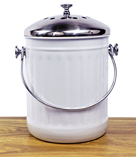 Indoor Kitchen Stainless Steel Compost Bin – White – 1.2 Gallon Container with Double Charcoal Filter for Odor Absorbing - Perfect Caddy for Any Counter Top - Non Stick Bucket - Compost Free Caddy