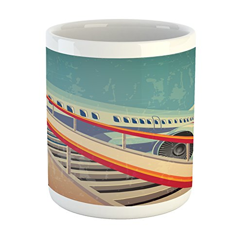 dern Mug, Jet Commercial Airlines Plane Design Eighties Travel Theme Holiday Vacation, Printed Ceramic Coffee Mug Water Tea Drinks Cup, Multicolor ()