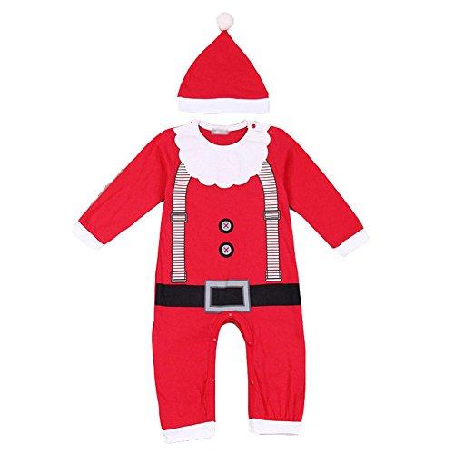 [Fashion Story Toddler Unisex Baby Newborn Baby Kids Xmas Baby Clothes Outfits Boy Girl Kids Romper Hat Cap Set Christmas Gift] (Bad Santa Costume Uk)