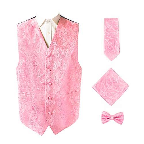 Design Mens Tie - Oliver George 4pc Paisley Vest Set-2313-Y-Pink-2XL
