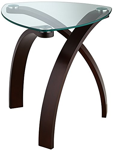 Glass Wide End Table - Studio 55D Gianna Espresso and Glass 23 1/2 Wide End Table