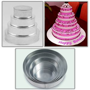 4 Tier Round Multilayer Wedding Birthday Anniversary Baking Cake Tins Cake Pans 6