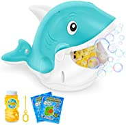 Bubble Machine for Kids Toddlers, Automatic Bubble Blower with Bubble Solution for Parties Weddings Outdoor In