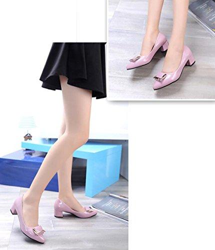 heeled De Primavera Zapatos Para Pink La De Zapatos Y Nueva MUYII áspero Otoño Mujer Casuales Coreana Trabajo Moda Con La De El High Zapatos Shallow qwOWXzHv