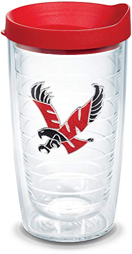 Tervis 1079148 Eastern Washington Eagles Logo Tumbler with Emblem and Red Lid 16oz, Clear