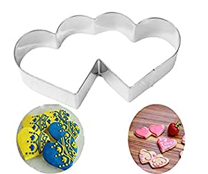 "Fashionclubs Double Hearts Cookie Cutter Stainless Steel 2.4"" x 4.6"""