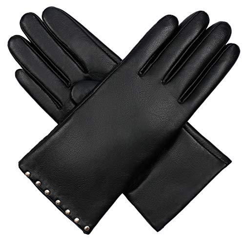 Women's Winter Genuine Leather Gloves - Isilila Touchscreen Warm Driving Gloves With Cashmere Lining Studded Decoration