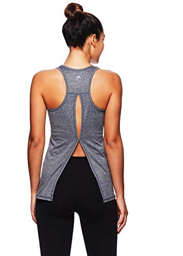 (HEAD Women's Cassandra Racerback Tank Top w/Keyhole Cutout - Sleeveless Performance Activewear Shirt - Lake Blue Heather, Medium - Cassandra Medium Grey Heather,)