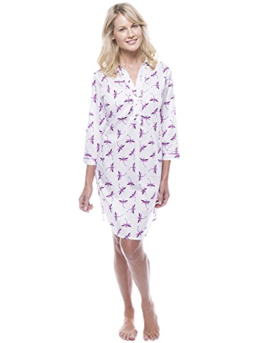 Women's Cotton Poplin Tunic Sleep Shirt - Firefly White/Purple for sale  Delivered anywhere in Canada