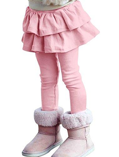ZIYOYOR Kids Girls Elastic Waist Fleece Lined Leggings with Ruffle Tutu Skirt (4T, Pink) -