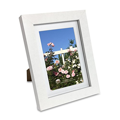 Isaac Jacobs Wood Picture Frame with Mat (Wall mounting material included) (5x7 (Matted 4x6), White)