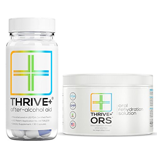 All Natural Prickly Pear - Thrive+ After Alcohol Aid & ORS Combo | For Fast Alcohol Detox & Rehydration Recovery After Drinking Alcohol. Replenish with our All Natural Formulas + Electrolytes