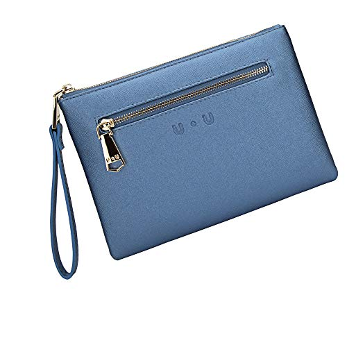 Wristlet Clutch With Rechargeable Power Bank - Ladies Large Capacity Wristlet Wallet(Blue) ()