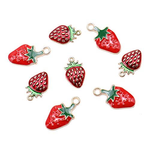 JETEHO 20Pcs Enamel Strawberry Charms Pendants Berry Alloy Fruit Charms for Making Necklace Bracelet Earrings