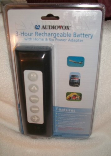AUDIOVOX 3-HOUR RECHARGEABLE BATTERY WITH HOME & GO POWER ADAPTER