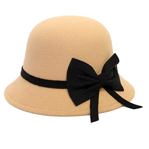 FEDULK Women's Retro Panama Hat Wide Brim Classic Fedora Jazz Cap Outback Hat with Bow(Khaki, One Size)