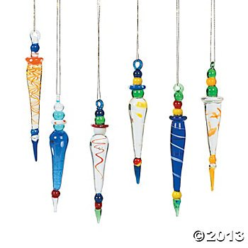 24 Beautiful Multicolor Glass Icicle Christmas Ornaments/HOLIDAY Tree/DECOR/Two Dozen/GIFT/DECORATIONS (Glass Spun Tree Ornament)