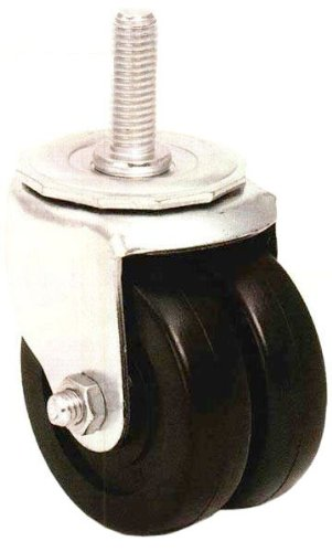 E.R. Wagner Stem Caster, Swivel, Dual Wheel, Soft Rubber Wheel, Delrin Bearing, 250 lbs Capacity, 3