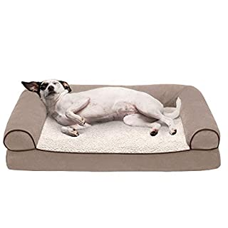 Furhaven Pet Dog Bed - Orthopedic Faux Fleece and Chenille Soft Woven Traditional Sofa-Style Living Room Couch Pet Bed with Removable Cover for Dogs and Cats, Cream, Medium