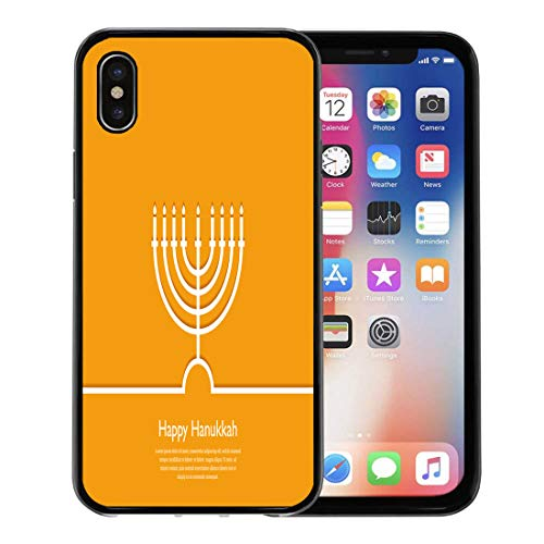 - Semtomn Phone Case for Apple iPhone Xs case,Happy Hanukkah Holiday Religion Jewish Festival of Lights Menorah Outline Minimal Flat for iPhone X Case,Rubber Border Protective Case,Black