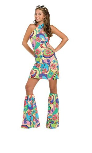 Costumes Man 60s Love Child (Underwraps Costumes Women's Retro Hippie Costume - Far Out, Multi,)