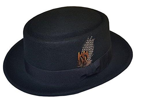 Men's 100% Soft & Crush-able Wool Felt Pork Pie Hats With Feather (M, (Wool Felt Pork Pie Hat)