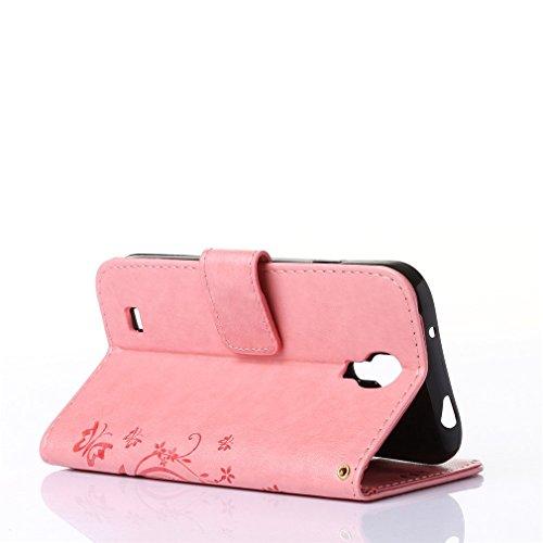 A9H Funda de PU cuero Resistente,Sony Xperia Z5 Compact (Z5 Mini) Ultra Slim PU Cuero Folding Stand Flip Funda Carcasa Caso,Leather Case Wallet Protector Card Holders-light brown 01Pink