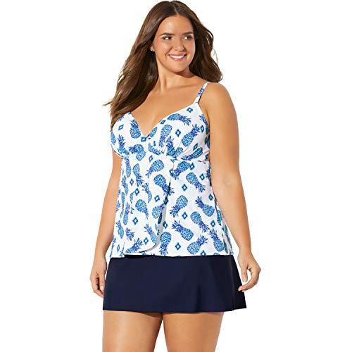 - Swimsuits For All Women's Plus Size Wrap Swim Tankini Top in Bra Sizes - Turq Pineapple Ikat, 40 DD