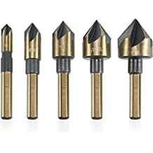 """Neiko 10218A ¼"""" M2 Countersink Bit Set with Carrying Case, 5 Piece   Tri-Flat Shank"""