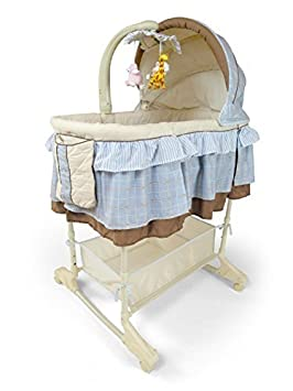 Best For Kids Wiege Stubenbett 4 in 1 Schaukelwiege Babybett mit Melodie, Vibration, Licht, Nachtlampe und Schaukel mit Fernbedienung in zwei Farben zur Auswahl. (Blau) CON1