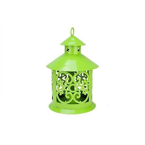 Northlight  Shiny Lime Green Votive or Tea Light Candle Holder Lantern with Star and Scroll Cutouts, 8