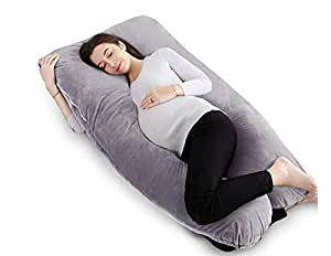 """Pregnancy Pillow U Shaped Maternity Pillow Full Body Nursing Pillow with Zipper Removable Flannel Cover for Pregnant Women Side Sleeping (Grey, 55"""")"""