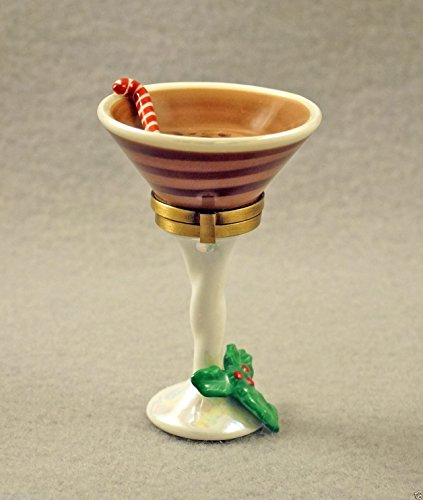 Authentic French Porcelain Hand Painted Christmas Limoges Box Chocolate Martini Glass with Candy Cane and Holly ()