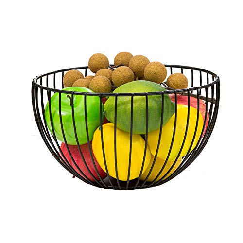 PENGKE Metal Wire Fruit Container Bowls Stand for Modern Kitchen Countertop, Large Round Black Storage Baskets for Bread, K Cup, and Decorative Items