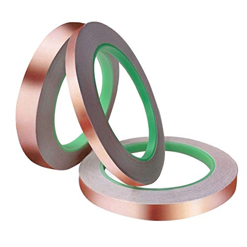 3 Pack Copper Foil Tape with Conductive Adhesive,3 Sizes Copper Tape Double-Sided for EMI Shielding,Slug Repellent,Paper Circuits,Electrical Repairs,Grounding(6/8/10mm)