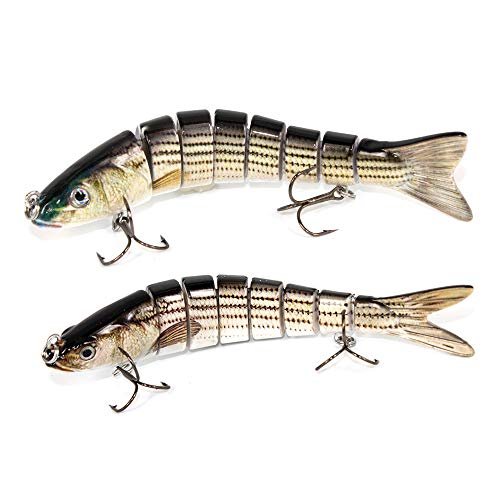 Alilure Fishing Lures Slowing Sinking Swimbaits Multi Jointed Crankbaits 8 Segment with Mustad Hooks 4# Rattles Traps for Bass Trout 5.5