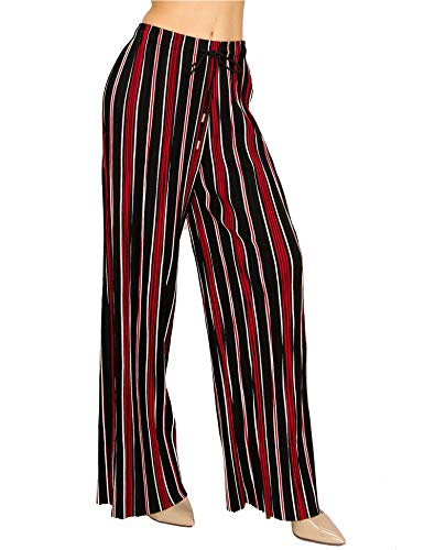 (Made by T Women's Wide Leg Palazzo Pants - High Waist Maxi Long Lounge Pleated Pants 9 One Size)
