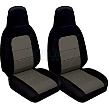 2006-2015 Mazda MX-5 Miata Seat Covers: Black and Charcoal (22 Colors) Seat Belt Holder & Side Airbag Compatible 2007 2008 2009 2010 2011 2012 2013 2014 Bucket
