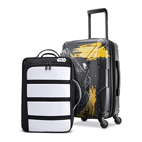 American Tourister Kids Star Wars Falcon Perfect Packer 2pc Set bkpk 20 Spinner Wheels, Black Yellow