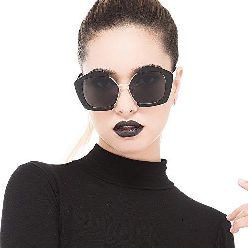 Black De TIANLIANG04 Sol Sol Escudo Señora Rosado Moda Irregular Polígono De Uv400 Gafas Gris Gafas Gray De SnqwAZSp